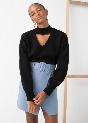 V-Cut Turtleneck Sweater - Black - Sweaters - & Other Stories
