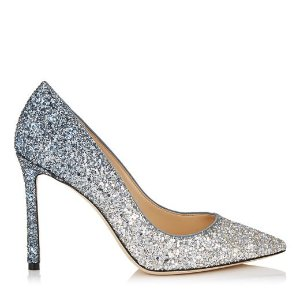 Silver and Dusk Blue Fireball Glitter Dégradé Fabric Pointy Toe Pumps | Romy 100 | CR18 | JIMMY CHOO