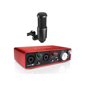 Focusrite Scarlett 2i2 2nd Gen + Audio-Technica AT2020 Microphone