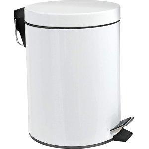 """$22.54(原价$32.84)ih 脚踏式垃圾桶3L容量 6.5x9.5""""白色圆形浴室垃圾桶"""
