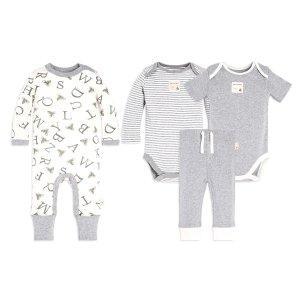 Baby 4 Piece A Bee C Organic Jumpsuit, Bodysuits & Pant Set
