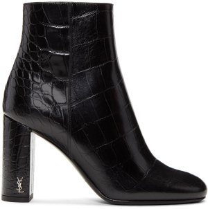 Saint Laurent: Black Croc-Embossed Loulou Boots | SSENSE