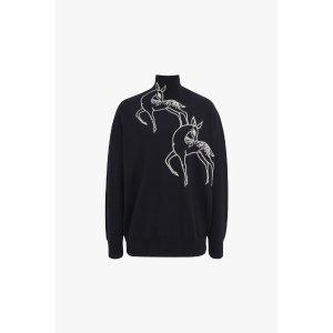 Victoria BeckhamFunnel Neck Deer Embroidered Jumper