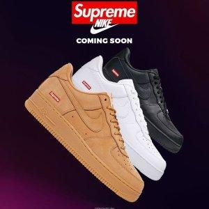 定价$100 双色可选Supreme x Nike Air Force 1 合作鞋款补货