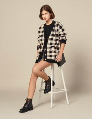 Loose-fitting checked cardigan - Sweaters & Cardigans | Sandro Paris