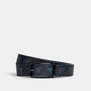CoachHarness Buckle Cut-To-Size Reversible Belt With Check Geo Print, 38mm
