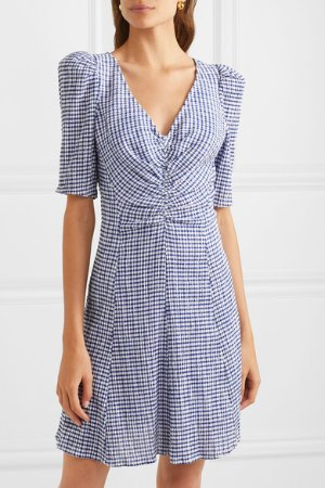 STAUD | Frites gingham stretch-seersucker mini dress | NET-A-PORTER.COM