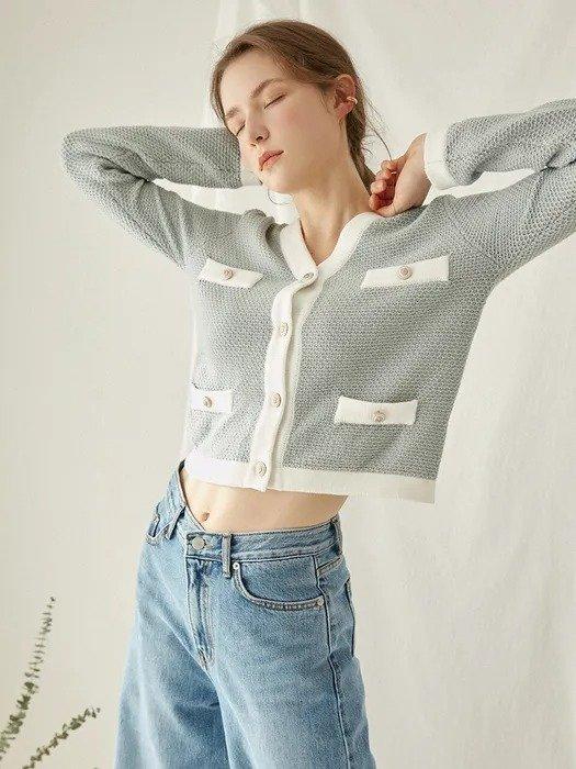 V-neck 小香风针织开衫