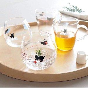 凑单必备 可爱水杯$6.4起东洋佐佐木日本制造 耐热玻璃杯 可爱猫咪花纹 洗碗机可用