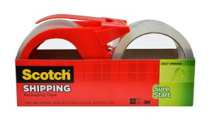 $5Scotch Sure Start Shipping Packaging Tape, 1.88 x 38.2 Yards, 2 Rolls and 1 Dispenser (3450S-2-1RD)