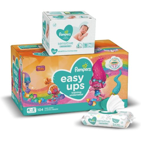 $42.05 and UpPampers Easy Ups Pull On Training Pants with Baby Wipes Sensitive 6X Pop-Top Packs