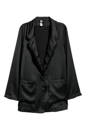 Ruffle-trimmed Jacket - Black -    H&M US