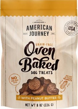 American Journey Peanut Butter Recipe Grain-Free Oven Baked Crunchy Biscuit Dog Treats, 8-oz bag - Chewy.com