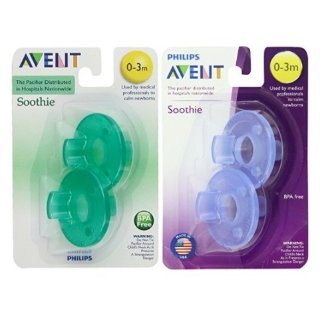 Philips Avent Soothie Pacifier,Blue and Green, 0-3 Months, 4 count @ Amazon