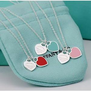 超值价¥930 二色可选Tiffany & Co  RTT系列 珐琅双心吊坠项链