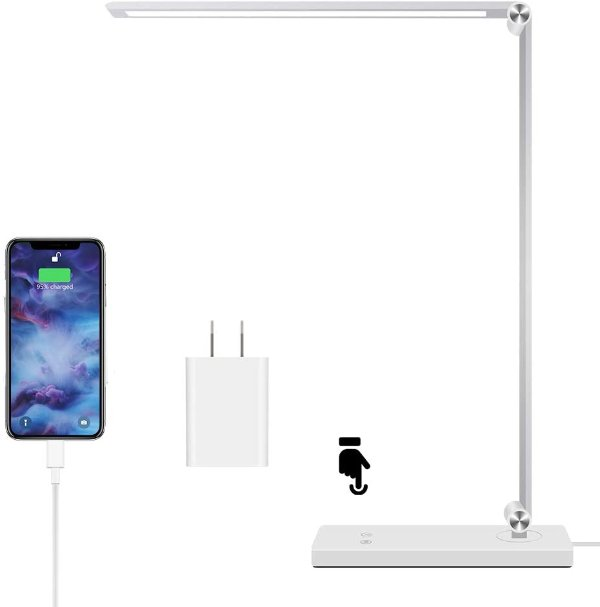 Samuyang LED 可调光护眼节能台灯 带USB充电 黑白2色