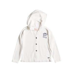 RoxyGirls 7-14 Grizzly Girly Button Up Hoodie 白色上衣