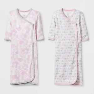 3c2bc8337e900 Cloud IslandBaby Girls' 2p Print Gowns - Cloud Island™ White/Pink Preemie
