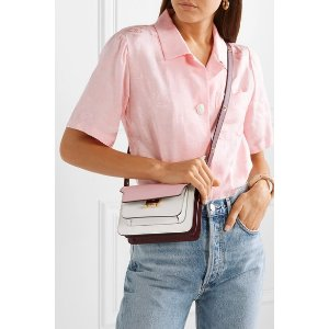 MarniTrunk small color-block textured-leather shoulder bag