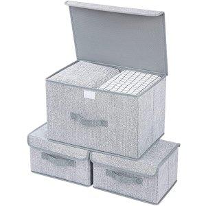 DIMJ Storage Bins with Lids, 3 Packs