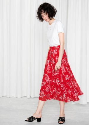 Pleated Skirt - Red Floral - Midi skirts - & Other Stories
