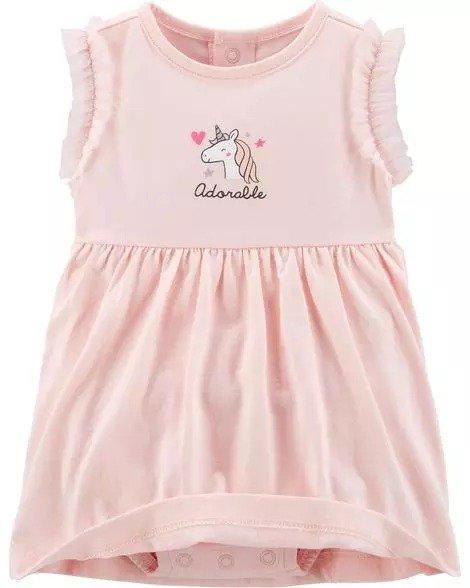 女婴独角兽连衣裙2件套
