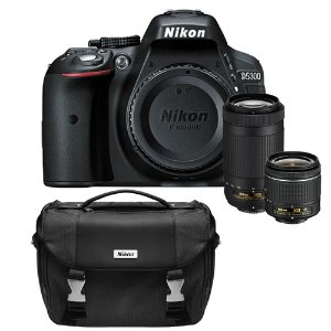 Nikon D5300 DX-Format Digital 24.2 MP SLR Camera w/ Lens Bundle and Carrying Bag