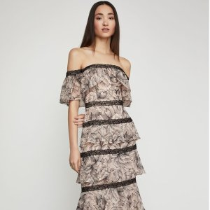 BCBGMAXAZRIAOff-The-Shoulder Tiered Ruffle Gown