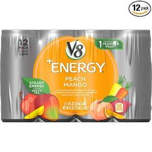 $6.63 一罐只需$0.55V8 +Energy 桃子芒果口味能量饮料 8oz 共12罐