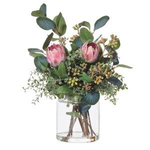 低至6折 收玫瑰、尤加利Rogue 装饰干花、花瓶、绿植促销