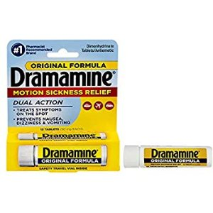 Amazon.com: Dramamine Motion Sickness Relief Original Formula | 12 Tablets | Travel & Trial Size | Prevents Nausea, Dizziness, and Vomiting: Health & Personal Care