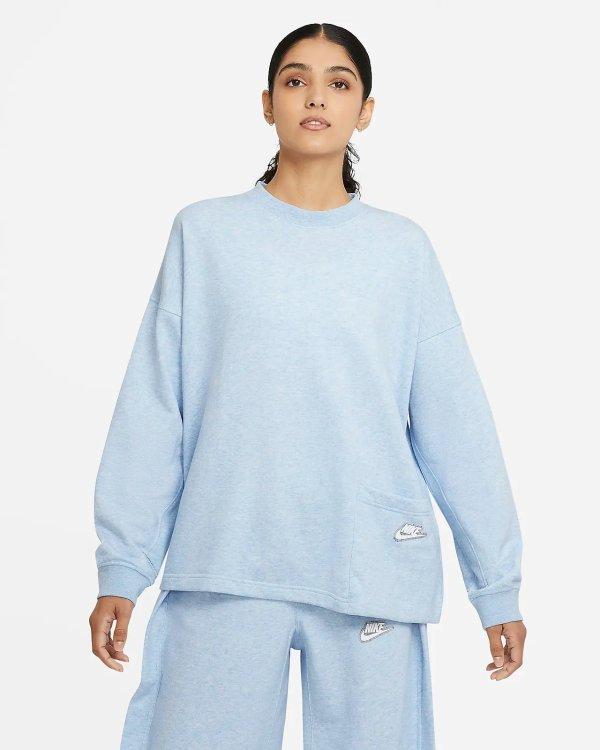 奶油蓝女士宽松卫衣