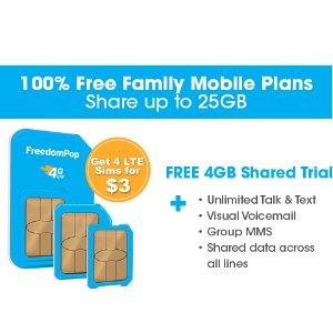 仅售$3!四张LTE GSM Sim卡 首月无限通话+短信+多达4GB流量