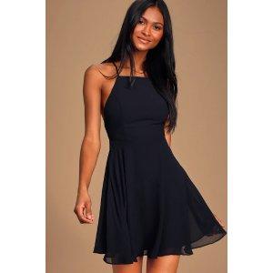 Letter of Love Black Backless Skater Dress