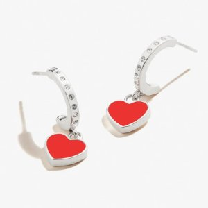 Alex and AniColor Infusion Heart Huggie Hoop Earrings .925 Sterling Silver