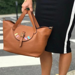 Meli MeloThela Medium Tan LOVE Painted Brown Leather Tote Bag for Women