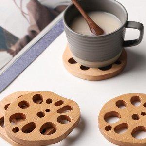 Beech Wood Lotus Coasters from Apollo Box