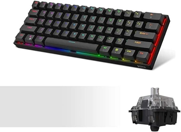 DK61E 60% Mechanical Gaming Keyboard, RGB Backlit Wired PBT Keycap Waterproof Type-C Mini Compact 61 Keys Computer Keyboard with Full Keys Programmable (Gateron Optical Sliver Switch)