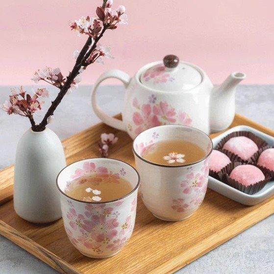 日本美浓烧樱花茶具三件套