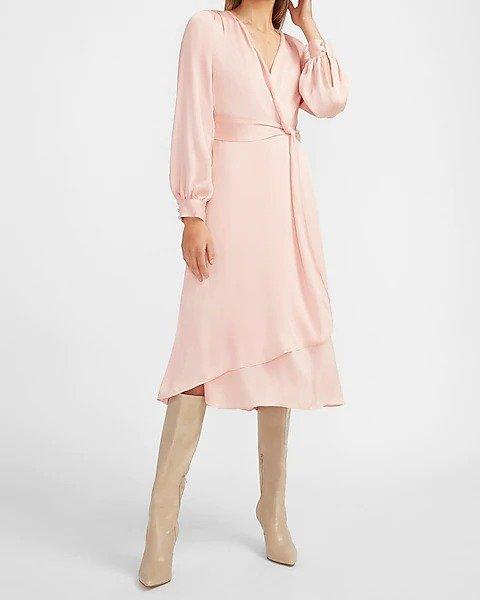 缎面系带连衣裙