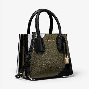 Michael KorsMercer Tri-Color Pebbled Leather Accordion Crossbody Bag