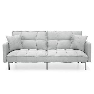 Best Choice Products Living Room Convertible Linen Fabric Tufted Splitback Futon Couch Furniture W/ Pillows Light Gray