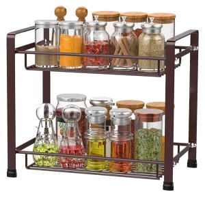 iSPECLE 2-Tier Spice Rack, Kitchen Bathroom Organizer