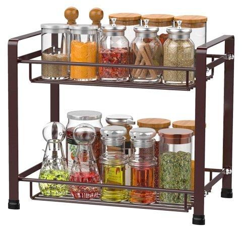 iSPECLE 2-Tier Spice Rack, Kitchen Bathroom Organizer