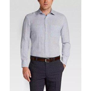 Joseph Abboud Blue & Gray Striped Linen Sport Shirt