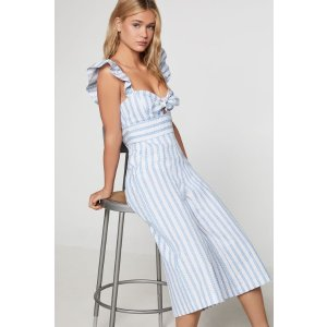 BCBGenerationStriped Cropped Jumpsuit