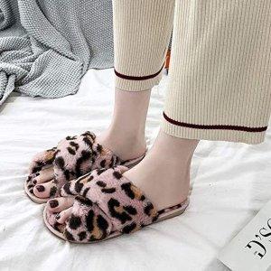 豹纹毛绒拖鞋