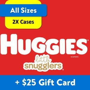 Huggiesget $25 gift card[$25 Savings] Buy 2 Huggies Little Snugglers Diapers Economy+ Packs (Any Size) with Free $25 Gift Card[$25 Savings] Buy 2 Huggies Little Snugglers Diapers Economy+ Packs (Any Size) with Free $25 Gift Card