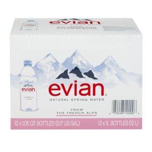 $2.28 平均$0.19一瓶白菜价:Evian 依云天然矿泉水 1升装 共12瓶