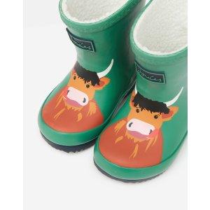 Joules儿童小牛图案保暖雨靴